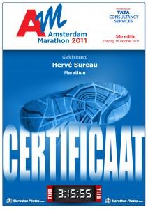 Certificat Marathon d'AMSTERDAM 2011