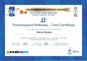 Certificat Marathon d'ATHENES 2012